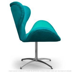Cadeira com Capitonê Decorativa Poltrona Egg Azul Turquesa com Base Giratória