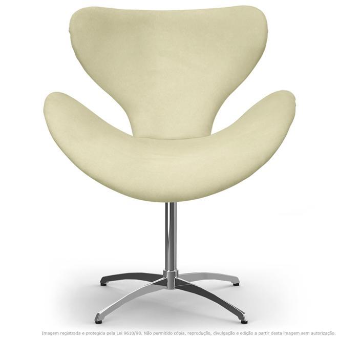 Cadeira Decorativa Poltrona Egg Bege com Base Giratória