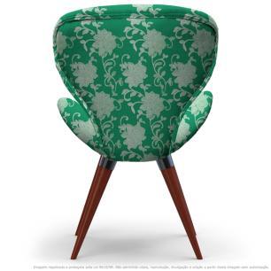 Poltrona Egg Floral Verde Cadeira Decorativa com Base Fixa