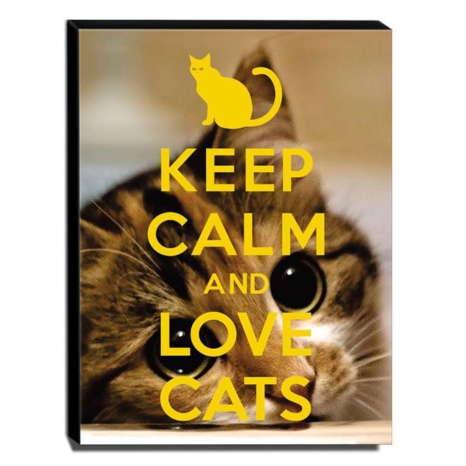 Quadro Keep Calm And Love Cats Canvas 40x30cm-KCA84