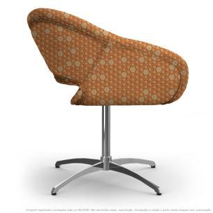 Cadeira Beijo Colmeia Marrom e Laranja Poltrona Decorativa com Base Giratória