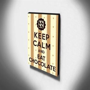 Quadro Keep Calm And Eat Chocolate Canvas 40x30cm-KCA28