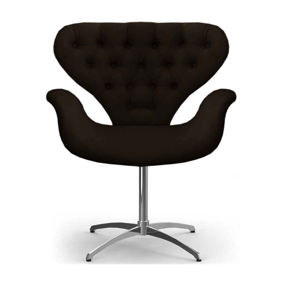 Cadeira Com Capitonê Poltrona Tulipa Marrom Base Giratória