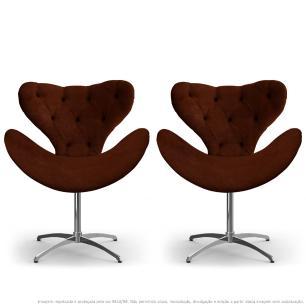 Kit 2 Cadeiras Decorativas Poltronas Egg com Capitonê Marrom com Base Giratória