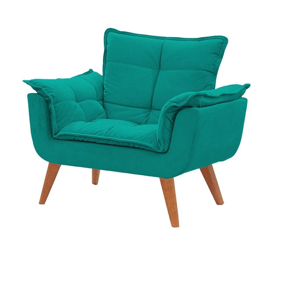 Poltrona Decorativa Opala Azul Turquesa