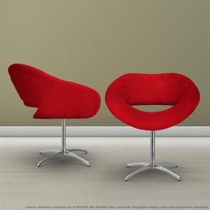 Kit 2 Cadeiras Beijo Vermelha Poltronas Decorativas com Base Giratória