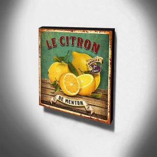 Quadro Cozinha Vintage Limão Canvas 30x30cm-COZ60