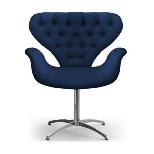 Cadeira Com Capitonê Poltrona Tulipa Marinho Base Giratória