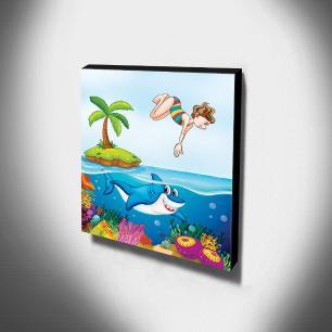 Quadro Infantil Fundo do Mar Tubarão Canvas 30x30cm-INF178