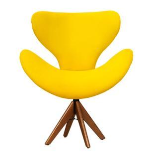 Cadeira Decorativa Egg Amarela Com Base Giratória Madeira