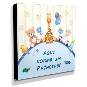 Quadro Infantil Aqui Dorme Um Príncipe Canvas 30x30cm-INF109