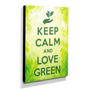 Quadro Keep Calm And Love Green Canvas 40x30cm-KCA55