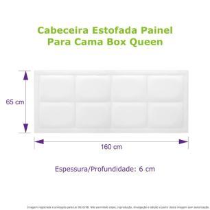 Cabeceira Estofada Painel Preta Para Cama Box Queen 160cm