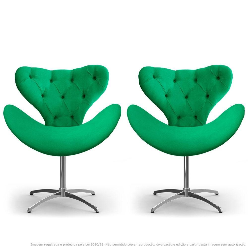 Kit 2 Cadeiras Decorativas Poltronas Egg com Capitonê Verde com Base Giratória