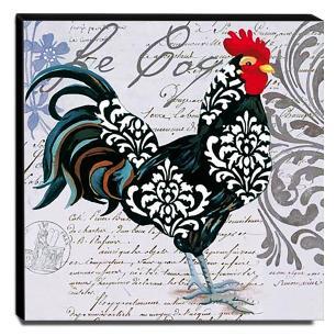 Quadro Cozinha Vintage Galo Canvas 30x30cm-COZ153