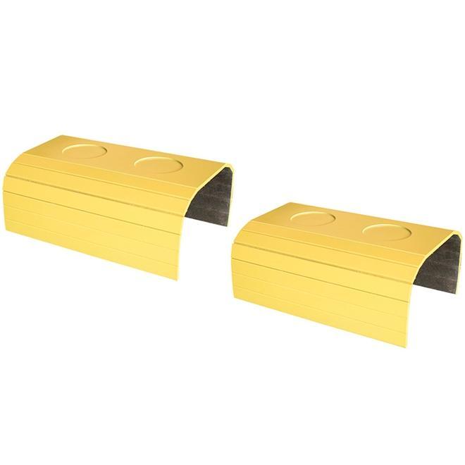 Kit 2 Bandejas Laqueada Porta Copos Para Braço de Sofá Amarelo