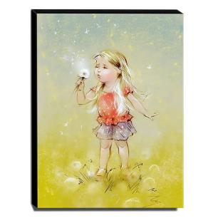 Quadro Infantil Vintage Menina Soprando Flor Canvas 40x30cm-INF469