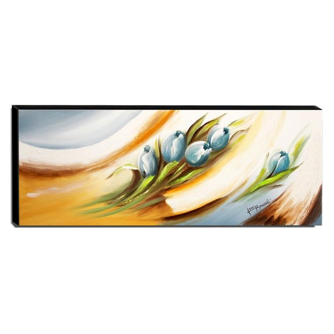Quadro de Pintura Tulipas Azuis 40x105cm-1440
