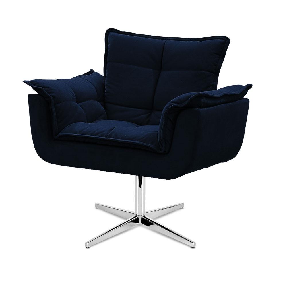 Cadeira Decorativa Opala Azul Marinho Base Giratória