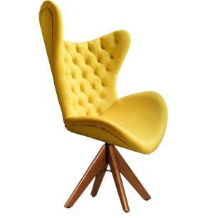 Cadeira Decorativa Com Capitonê Big Egg Amarela Giratória Madeira