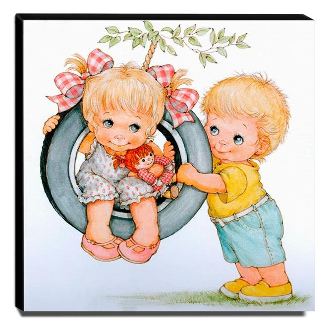 Quadro Infantil Vintage Menino e Menina Canvas 30x30cm-INF500