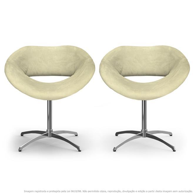 Kit 2 Cadeiras Beijo Bege Poltronas Decorativas com Base Giratória