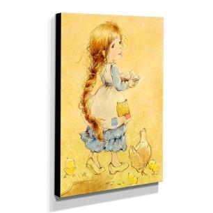 Quadro Infantil Vintage Menina Com Ovos Canvas 40x30cm-INF465