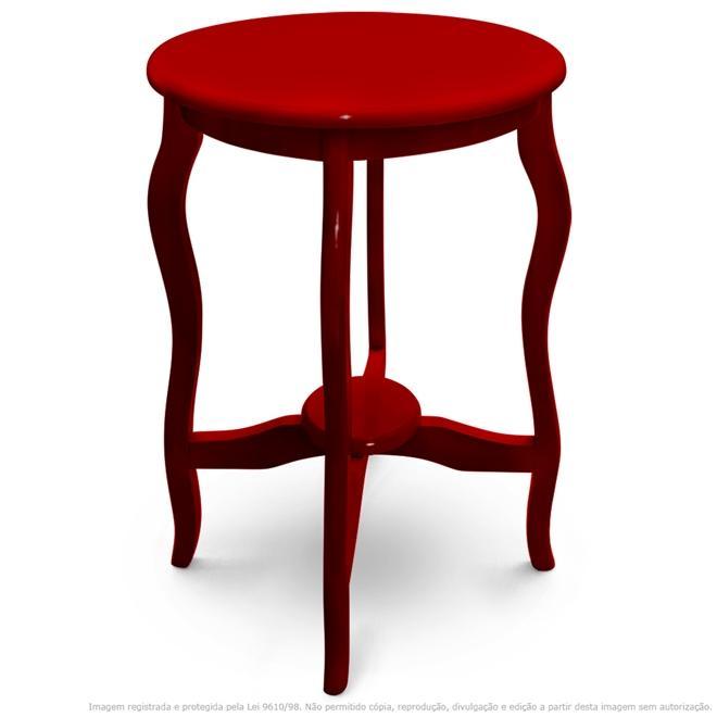 Mesa Lateral De Canto Inglesa Laqueada Vermelha
