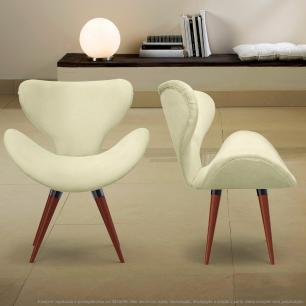 Kit 2 Poltronas Decorativas Cadeiras Egg Bege com Base Fixa de Madeira