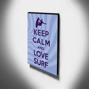 Quadro Keep Calm And Love Surf Canvas 40x30cm-KCA92