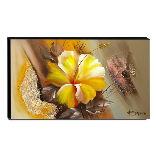 Quadro de Pintura Hibisco Amarelo 70x120cm-1483