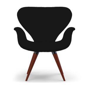 Poltrona Decorativa Cadeira Tulipa Preta Base Fixa Madeira