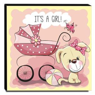 Quadro Infantil Cachorrinha Carrinho de Bebê Canvas 30x30cm-INF46