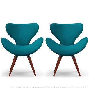 Kit 2 Poltronas Decorativas Cadeiras Egg Azul Turquesa com Base Fixa de Madeira