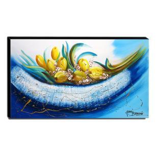 Quadro de Pintura Tulipas Amarelas 60x105cm-1480