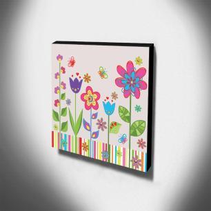 Quadro Infantil Flores Canvas 30x30cm-INF274