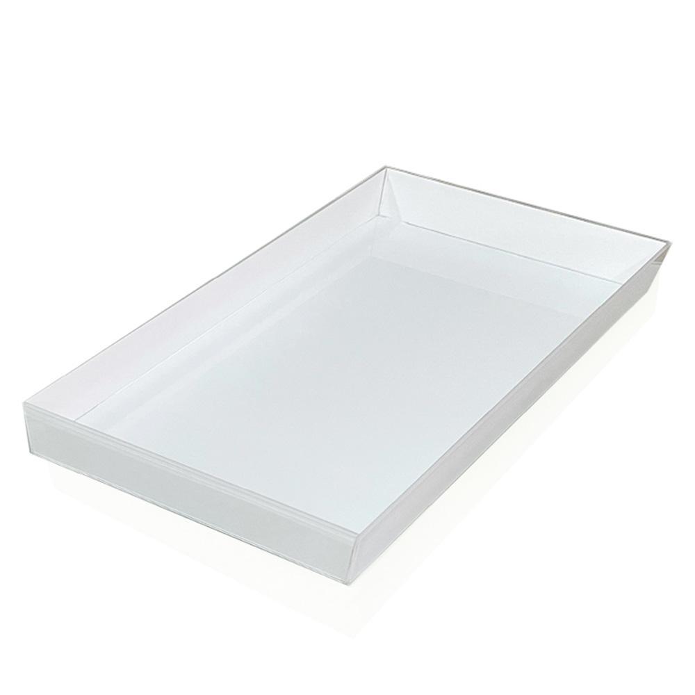 Bandeja Decorativa 30x50cm Vidro Branco
