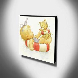 Quadro Infantil Vintage Menina e Gatinho Canvas 30x30cm-INF443