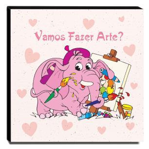 Quadro Infantil Elefante Vamos Fazer Arte Canvas 30x30cm-INF145
