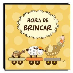 Quadro Infantil Hora de Brincar Canvas 30x30cm-INF67