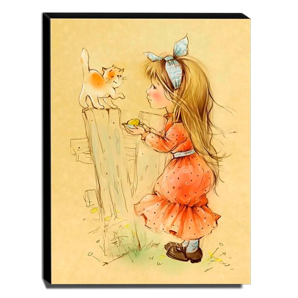 Quadro Infantil Vintage Menina e Gatinho Canvas 40x30cm-INF453