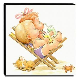 Quadro Infantil Vintage Crianças Na Praia Canvas 30x30cm-INF485