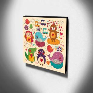 Quadro Infantil Animais Canvas 30x30cm-INF125