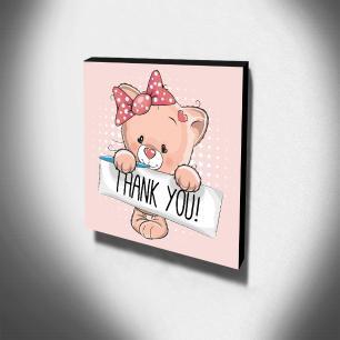 Quadro Infantil Gatinha Thank You Canvas 30x30cm-INF52