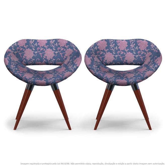 Kit 2 Cadeiras Beijo Floral Rosa e Lilás Poltrona Decorativa com Base Fixa
