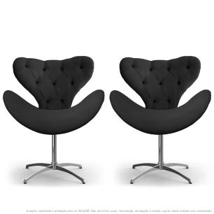Kit 2 Cadeiras Decorativas Poltronas Egg com Capitonê Cinza com Base Giratória
