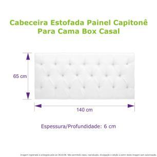 Cabeceira Estofada Painel Capitonê Preta Para Cama Box Casal 140cm