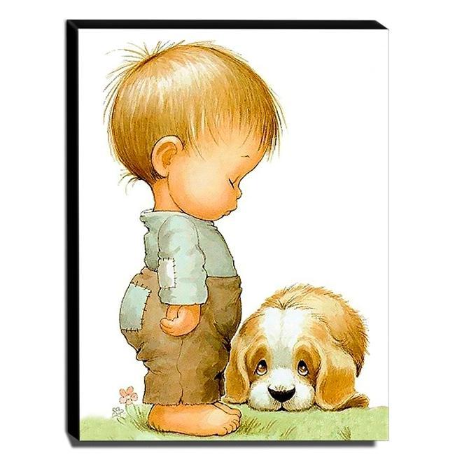 Quadro Infantil Vintage Menino e Cachorro Canvas 40x30cm-INF506