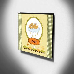 Quadro Infantil Ursinhos Trenzinho Canvas 30x30cm-INF78