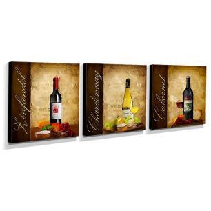 Kit 3 Quadros Cozinha Vintage Vinho Canvas 30x30cm-COZ40